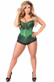 Top Drawer Emerald Brocade Steel Boned Corset w/Black Eyelash Lace