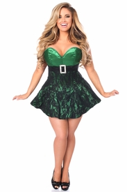 Top Drawer Green Lace Steel Boned Corset Dress