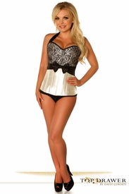 Top Drawer Ivory Lace & Bow Halter Steel Boned Corset