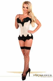 Top Drawer Ivory Satin Steel Boned Beaded Corset