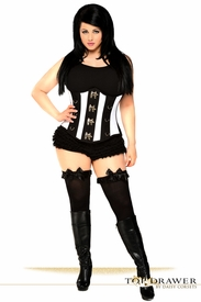 Top Drawer Plus Size Black & White Steel Boned Underbust Corset