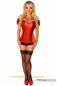 Top Drawer Red Steel Boned Molded Cup Sequin Corset