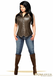 Top Drawer Steel Boned Faux Leather Collared Corset Top - IN STOCK