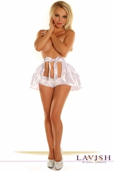 White Satin Layered Ruffle Skirt - IN STOCK