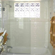 "Glass door for bathtub shower, model 6408SHR: Frameless/64"" high/Round glass top corner/Polished chrome hardware finish"