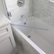 Normally obstructions such as a toilet, vanity or tub spout will prevent the shower door from being opened fully