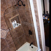 "Shower shield for bathtub, model 7008WPR: Semi-Frameless|70"" high