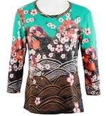 Breeke & Company 3/4 Sleeve, Hand Silk-Screened Art shirt, Scoop Neck, Multi-Colored, Printed Cotton Poly Woman's Top - Asian Flowers