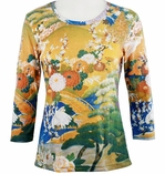 Breeke & Company 3/4 Sleeve, Hand Silk-Screened Art shirt, Scoop Neck, Multi-Colored, Printed Cotton Poly Woman's Top - Garden Bridge