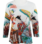 Breeke & Company 3/4 Sleeve, Hand Silk-Screened Art shirt, Scoop Neck, Multi-Colored, Printed Cotton Poly Woman's Top - Geisha in Cart