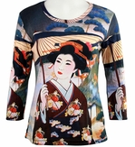 Breeke & Company 3/4 Sleeve, Hand Silk-Screened Art shirt, Scoop Neck, Multi-Colored, Printed Cotton Poly Woman's Top -  Japanese Geisha