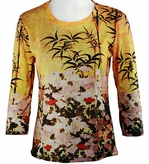 Breeke & Company 3/4 Sleeve, Hand Silk-Screened Art shirt, Scoop Neck, Multi-Colored, Printed Cotton Poly Woman's Top - Kano Shigenobu - Wheat Poppies & Bamboo