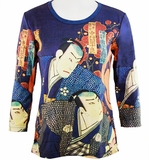 Breeke & Company 3/4 Sleeve, Hand Silk-Screened Art shirt, Scoop Neck, Multi-Colored, Printed Cotton Poly Woman's Top - Samurai's
