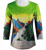Breeke & Company 3/4 Sleeve, Hand Silk-Screened Art shirt, Scoop Neck, Multi-Colored, Printed Cotton Poly Woman's Top - Van Gogh - Street in Saintes-Maries de la Mar