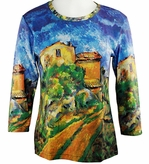 Breeke & Company 3/4 Sleeve, Hand Silk-Screened Art shirt, Scoop Neck, Multi-Colored, Printed Cotton Woman's Top - Cezanne - Maison Maria