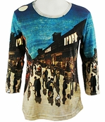 Breeke & Company 3/4 Sleeve, Hand Silk-Screened Art shirt, Scoop Neck, Multi-Colored, Printed Cotton Woman's Top - Hiroshige - Japanese Town Full Moon