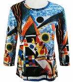 Breeke & Company 3/4 Sleeve, Hand Silk-Screened Art shirt, Scoop Neck, Multi-Colored, Printed Cotton Woman's Top - Kandinsky - Balancement