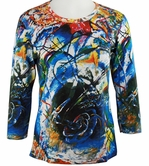 Breeke & Company 3/4 Sleeve, Hand Silk-Screened Art shirt, Scoop Neck, Multi-Colored, Printed Cotton Woman's Top - Kandinsky - Improvisation