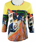 Breeke & Company 3/4 Sleeve, Hand Silk-Screened Art shirt, Scoop Neck, Multi-Colored, Printed Cotton Woman's Top - Kandinsky - Kandinsky