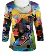 Breeke & Company 3/4 Sleeve, Hand Silk-Screened Art shirt, Scoop Neck, Multi-Colored, Printed Cotton Woman's Top - Kandinsky - Wassily