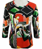 Breeke & Company 3/4 Sleeve, Hand Silk-Screened Art shirt, Scoop Neck, Multi-Colored, Printed Cotton Woman's Top - Lyman - Thunderstorm