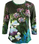 Breeke & Company 3/4 Sleeve, Hand Silk-Screened Art shirt, Scoop Neck, Multi-Colored, Printed Cotton Woman's Top - Monet - Water Lilies & Agapanthus