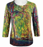 Breeke & Company 3/4 Sleeve, Hand Silk-Screened Art shirt, Scoop Neck, Multi-Colored, Printed Cotton Woman's Top - Monet - Weeping Willow