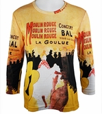 Breeke & Company 3/4 Sleeve, Hand Silk-Screened Art shirt, Scoop Neck, Multi-Colored, Printed Cotton Woman's Top - Toulouse - At the Moulin Rouge