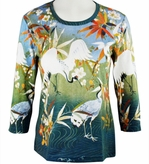 Breeke & Company - Crane near Water 3/4 Sleeve, Scoop Neck, Hand Silk-Screened Woman's Art Shirt