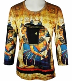 Breeke & Company - Egyptian, 3/4 Sleeve, Scoop Neck, Hand Silk-Screened Woman's Art Shirt