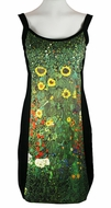 Breeke & Company Gustav Glimt - Farm Garden with Sunflowers, Sleeveless, Scoop Neck, Hand Silk-Screened Woman's Art Dress