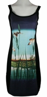 Breeke & Company Hiroshige - Iris Garden, Sleeveless, Scoop Neck, Hand Silk-Screened Woman's Art Dress