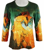 Breeke & Company - Mucha's Summer, Scoop Neck, 3/4 Sleeve, Hand Silk-Screened Woman's Art Shirt
