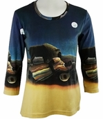 Breeke & Company Rousseau - The Sleeping Gypsy, 3/4 Sleeve, Scoop Neck, Hand Silk-Screened Woman's Art Shirt