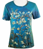Breeke & Company Short Sleeve, Hand Silk-Screened Art shirt, Scoop Neck, Multi-Colored, Printed Cotton Poly Woman's Top - Almond Branch