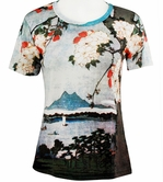 Breeke & Company Short Sleeve, Hand Silk-Screened Art Shirt, Scoop Neck, Multi-Colored, Printed Cotton Poly Woman's Top - Cherry Blossom