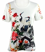 Breeke & Company Short Sleeve, Hand Silk-Screened Art shirt, Scoop Neck, Multi-Colored, Printed Cotton Poly Woman's Top - Cranes