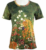 Breeke & Company Short Sleeve, Hand Silk-Screened Art shirt, Scoop Neck, Multi-Colored, Printed Cotton Poly Woman's Top - Gustav Klimt Flower Garden