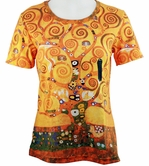 Breeke & Company Short Sleeve, Hand Silk-Screened Art shirt, Scoop Neck, Multi-Colored, Printed Cotton Poly Woman's Top - Gustav Klimt Tree of Life