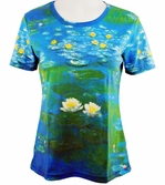 Breeke & Company Short Sleeve, Hand Silk-Screened Art shirt, Scoop Neck, Multi-Colored, Printed Cotton Poly Woman's Top - Monet's Water Lilies