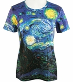 Breeke & Company Short Sleeve, Hand Silk-Screened Art shirt, Scoop Neck, Multi-Colored, Printed Cotton Poly Woman's Top - Starry Night