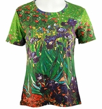 Breeke & Company Short Sleeve, Hand Silk-Screened Art shirt, Scoop Neck, Multi-Colored, Printed Cotton Poly Woman's Top - Van Goghs Irises