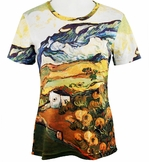 Breeke & Company Short Sleeve, Hand Silk-Screened Art shirt, Scoop Neck, Multi-Colored, Printed Cotton Poly Woman's Top - Van Goghs Olive Trees