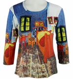Breeke & Company - Van Gogh's Bed, 3/4 Sleeve, Scoop Neck, Hand Silk-Screened Woman's Art Shirt
