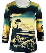 Breeke & Company - Van Gogh's Fisherman, Scoop Neck, 3/4 Sleeve, Hand Silk-Screened Woman's Art Shirt