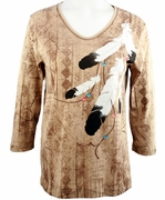 Cactus Bay Apparel Rhinestone Highlighted, 3/4 Sleeve, Crew Neck, Beige Colored Stretch Cotton Top - Eagle Feathers