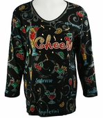 Cactus Bay Apparel Rhinestone Highlighted, 3/4 Sleeve, Crew Neck, Black Colored Stretch Cotton Top - Cheers