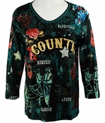 Cactus Bay Apparel Rhinestone Highlighted, 3/4 Sleeve, Crew Neck, Black Colored Stretch Cotton Top - Country Star