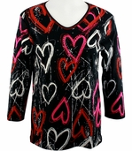 Cactus Bay Apparel Rhinestone Highlighted, 3/4 Sleeve, Crew Neck, Black Colored Stretch Cotton Top - Heart Doodles