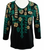 Cactus Bay Apparel Rhinestone Highlighted, 3/4 Sleeve, Crew Neck, Black Colored Stretch Cotton Top - Indian Art